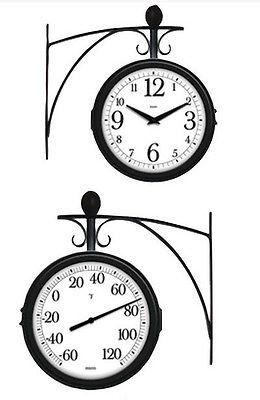 Springfield Decorative Indoor Outdoor Station Clock and Thermometer DESCRIPTION Please Note: This item is a single piece, clock on one side, thermometer on the other side with one mounting bracket. Ph