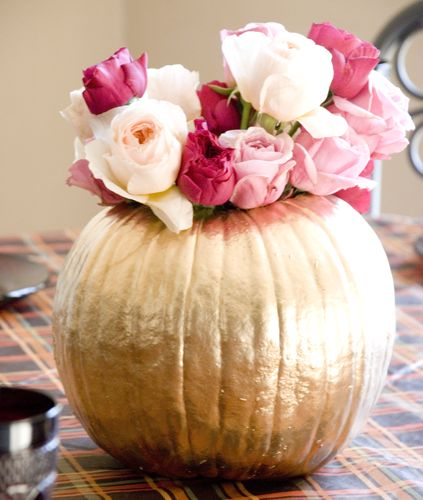 Orange flowers fall and gold pumpkin on pinterest
