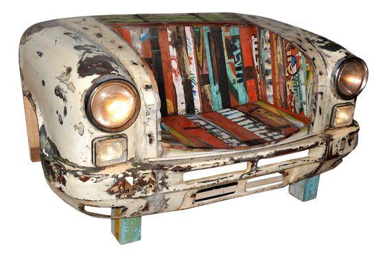 Autofront als Bank aus Metall / Holz Woody 112-00361