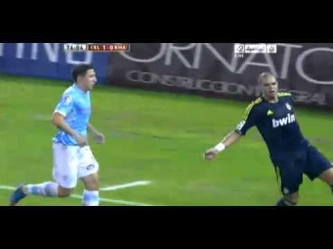 Pepe sigue dando patadas.     No es la primera vez que el central del Real Madrid, tiene estos desplantes. Esta vez el afectado fue el defensa del Celta, Roberto Lago, durante la ida de los octavos de final de la Copa del Rey.