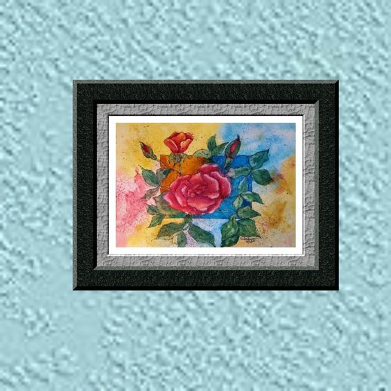 Wall Art Print, Watercolor Print, Red Rose Picture, Newly Wed Gift, Master Bedroom wall art, First Home gift, Original, My Whimsy Art Studio by MyWhimsyArtStudio on Etsy