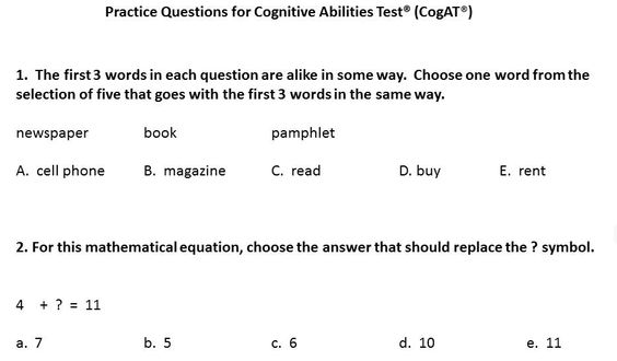 cognitive ability test sample pdf