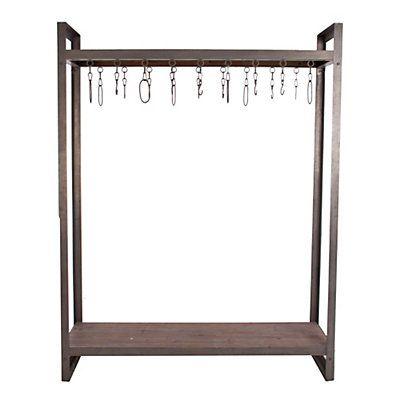 Kleiderständer aus Metall und Holz  grau  155 x 46 x 200 cm