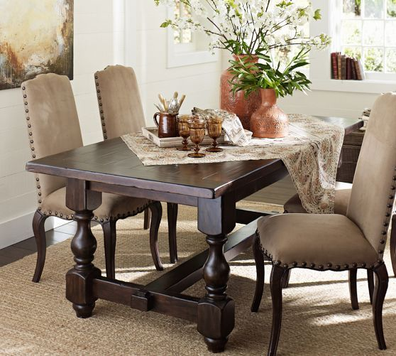 Cortona fixed dining table pottery barn home for Dressing a dining room table