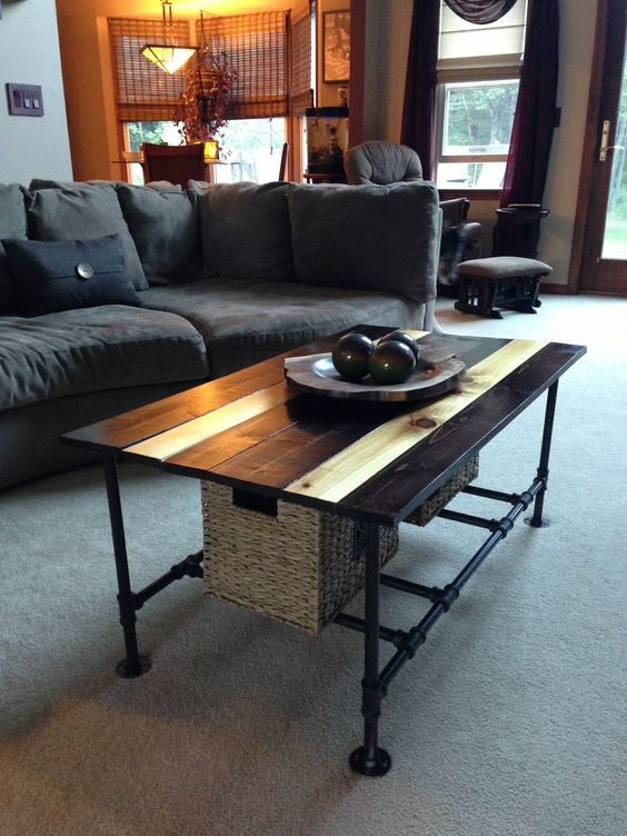 Table plans coffee and tables on pinterest for Plumbing pipe desk plans