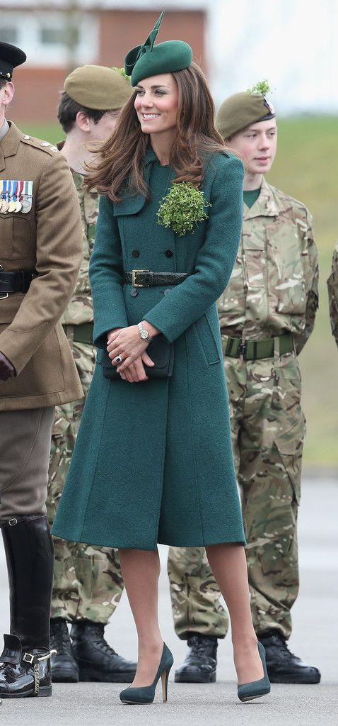 Kate Middleton, Duchess of Cambridge in Hobbs paired with a Gina Foster hat attends attends the St Patrick's Day parade at Mons Barracks. #bestdressed