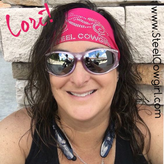 Lori rocking her Steel Cowgirl crystal wicking no-tie headwrap! Lots of colors avail. So comfy and great under helmets as it doesn't tie in back