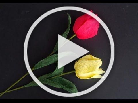 Tulip Flower With Crepe Paper Craft Tutorial Tulips Are Not Only The National Flower Of Turkey But Also The National Flowe In 2020 Crepe Paper Crafts Christmas Decorations To Make Christmas Diy
