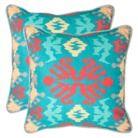 2-Pack Woven Aztec Aqua Splash Toss Pillows (18x18