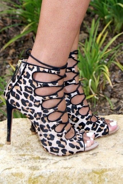 Details about ZARA Leopard Print Ankle Boots Lace Up Sandals Heels ...