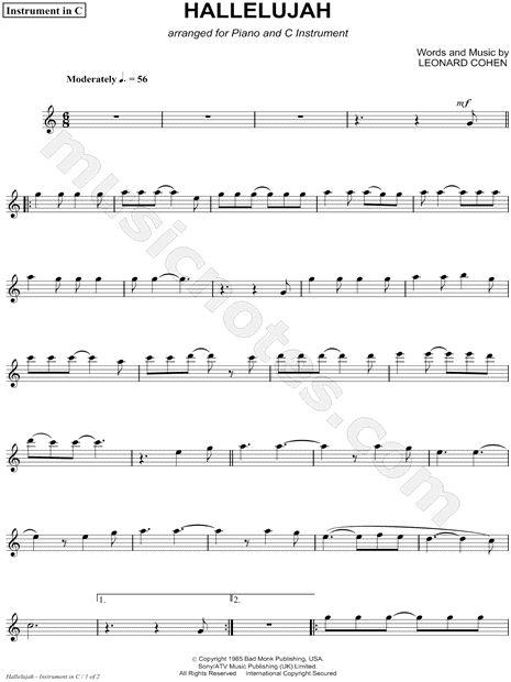 hallelujah c instrument sheet music composed by leonard