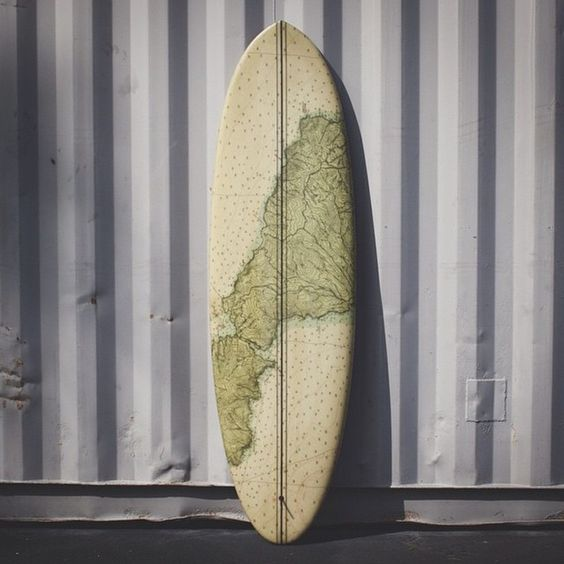 "This is an instant repost of a 6'6"" Plez-Joy by @almondsurfboards This gorgeous Pleasant Pheasant x Joy hybrid features a map print by @dave_allee #almondsurfboards #surfart #surfboard by boardporn"