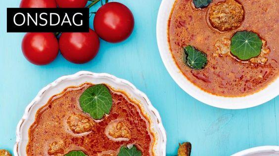 Tomatsuppe med kikerter. Dropp kjøttbollene, evnt veganer boller.