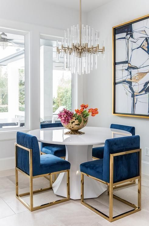 Download Wallpaper Navy And White Kitchen Chairs