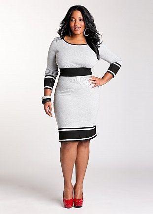 Ashley Stewart: Colorblock Banded Waist Dress - StyleSays