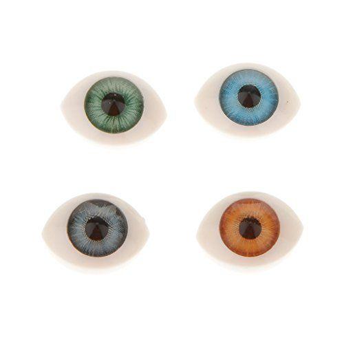 8 Pairs Oval Hollow Doll Making Flat Back Eyes Eyeball DIY Crafting Supplies