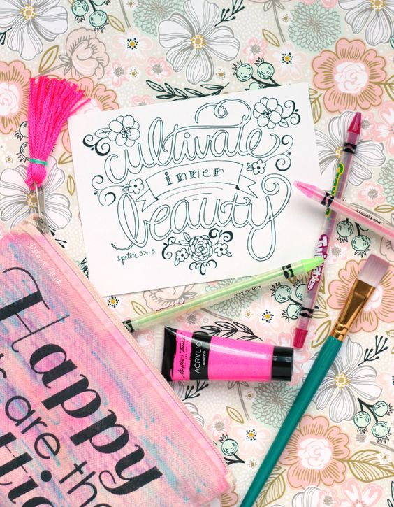 Free Hand Lettered Cultivate Inner Beauty Bible Verse