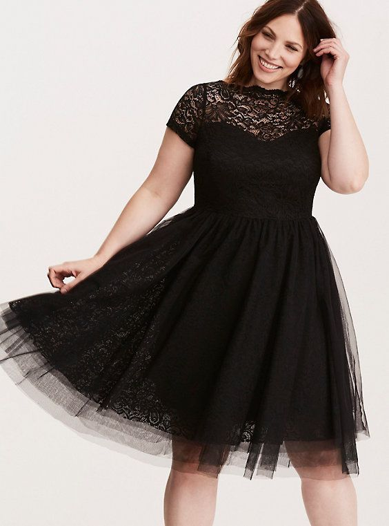 Special Occasion Lace & Tulle Swing Dress | Plus size black ...