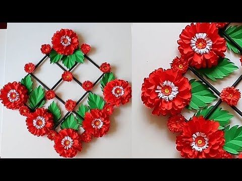 Paper Flower Wall Decor Easy Wall Decoration Ideas Paper Craft