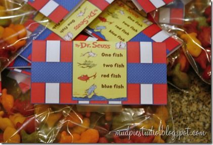 Dr Suess snack for class during Dr. Suess Week (Rainbow Goldfish crackers)