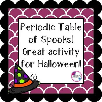Great activity for Halloween and for students to get more familiar with the Periodic Table. Students will need an up to date periodic table to complete this activity. Students will use the periodic table to find the atomic number of certain elements and use their symbols to create words that relate to Halloween!