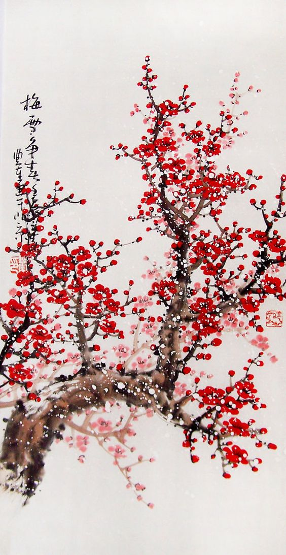 Original painting chinese art Lovely cherry blossom tree by art68, $80.00: