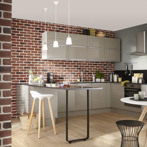 Plaquette de parement pl tre rouge chelsea mur brique indus homedecor plaquette parement - Plaquette de parement cuisine ...