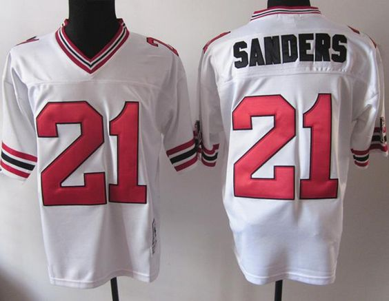 4df4f95f1 ... Mitchell And Atlanta Falcons 21 Deion Sanders White MN Throwback NFL  Jerseys ...