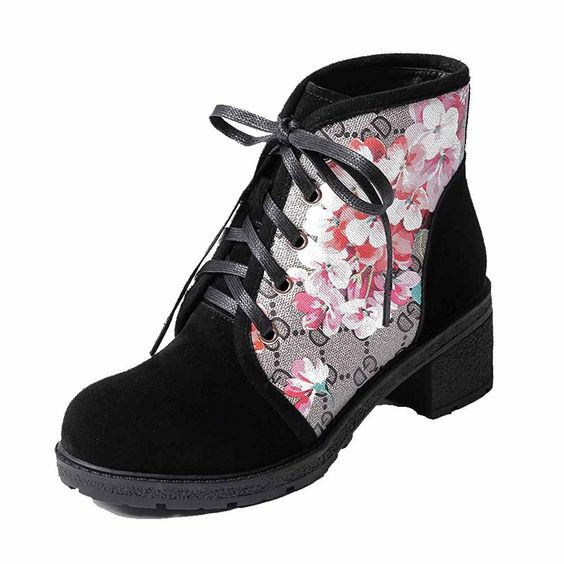 Women's Lace-up Round Closed Toe High-Heels Blend Materials Low-top Boots