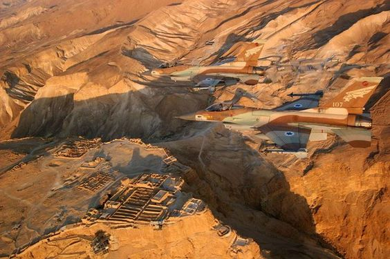 The Art of Camouflage : A pair of Israeli Air Force's F-16s  flying over Masada, a famous  Israeli archaeological site.