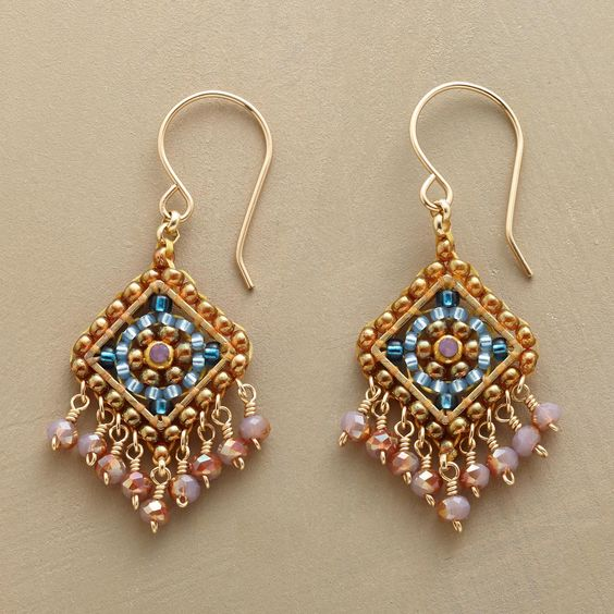 "TABRIZ EARRINGS -- Petite and perfectly intricate—hand-beaded earrings by Miguel Ases shimmer with Swarovski crystals and Japanese Miyuki beads. 14kt gold-filled wires. USA. Exclusive. 1-5/8""L.:"