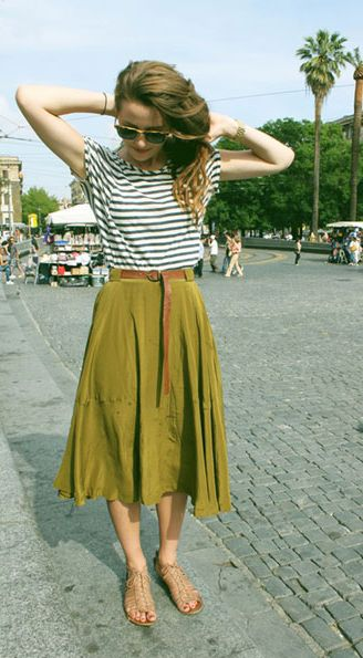 Gingerly Witty Stripes colorful midi skirt