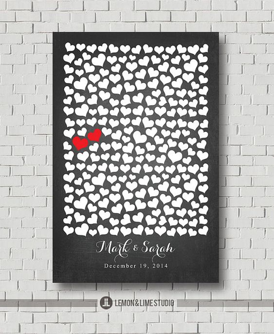 Unique Wedding Guest Book - Sweetheart Wedding Poster - Faux Chalkboard Wedding Signs In - Guestbook Print - Wedding Gift - Bridal Shower