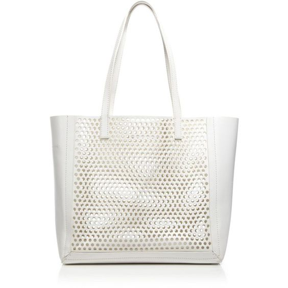 Loeffler Randall Tote - Perf Open (400 CAD) ❤ liked on Polyvore featuring bags, handbags, tote bags, white, genuine leather tote, genuine leather tote bag, leather handbags, white tote bag and perforated leather tote bag