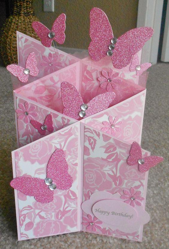 Handmade butterfly cascade card: