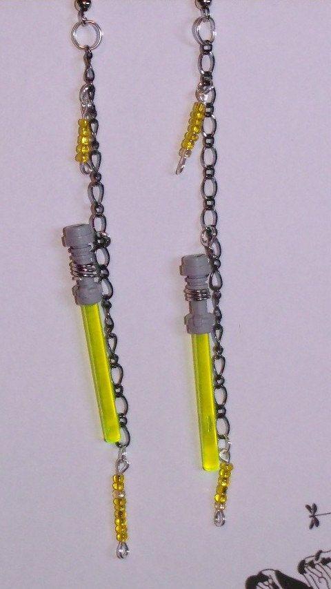 Lego Yellow LightSaber Earrings Original Luke Skywalker Lightsaber. $20.00, via Etsy.