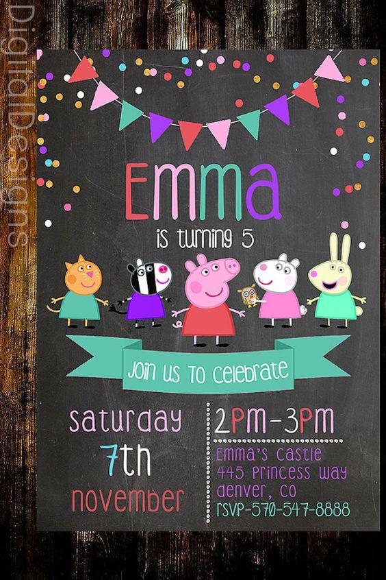 Peppa+Pig+Birthday+Invite+Peppa+Pig+Chalkboard+by+DigitalDesigns3