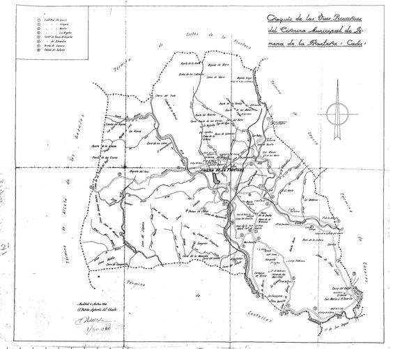 Croquis de las vías pecuarias del término municipal de Jimena de la Frontera, Cádiz. (1958)