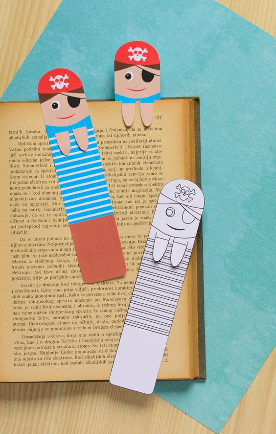 Pirates for kids and bookmarks on pinterest for Diy bookmarks for guys