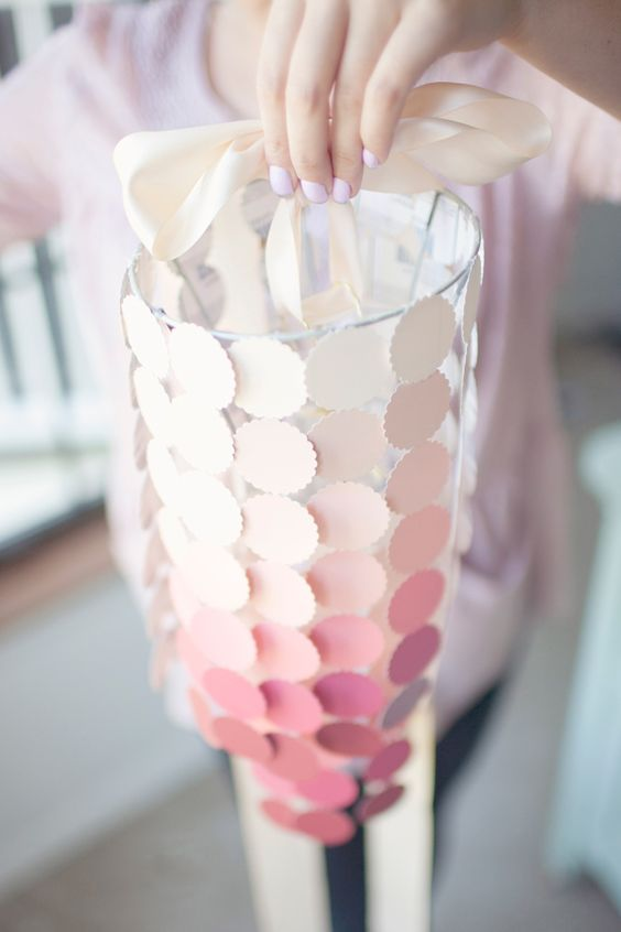 DIY: paint swatch chandelier