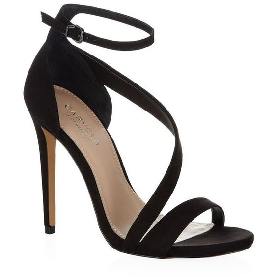 Carvela Kurt Geiger Gosh Sandal (€170) ❤ liked on Polyvore featuring shoes, sandals, heels, high heels, zapatos, strappy heel sandals, strap heel sandals, heeled sandals, open toe shoes and open toe heel sandals