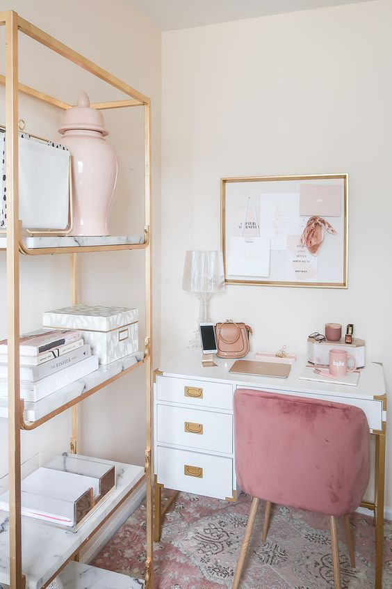 A girl that works a lot at house entirely needs a frosty house office, and if its on your own her office, why not make it refined and feminine? There are so many ways and ideas to attain that!. #homeofficecabinetsystems, #burkesvillehomeofficecabinet, #homeofficewallcabinetdeskdesign