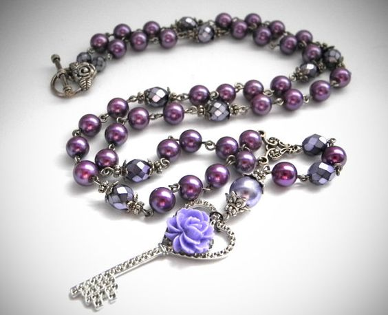 SALE Lolita Rosary Necklace Purple Pearl by MadameMoriarty on Etsy, $19.00
