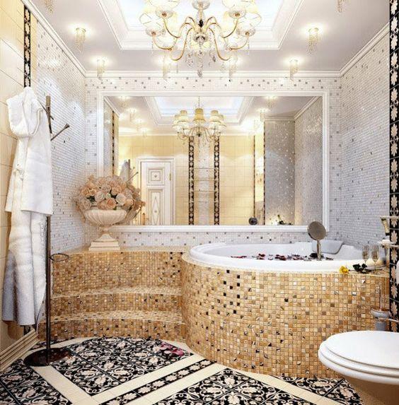 Le carrelage mosaique pour la d co de la salle de bains for Salle bain baroque