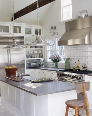 white kitchen / island and tile backsplash