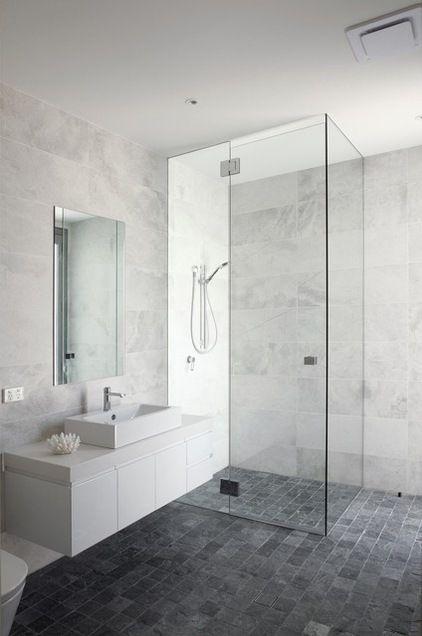 Bathroom: White/grey Marble Look Wall Tiles, Dark Grey Floor Tiles |  BATHROOM | Pinterest