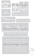 French words and designs stencils set