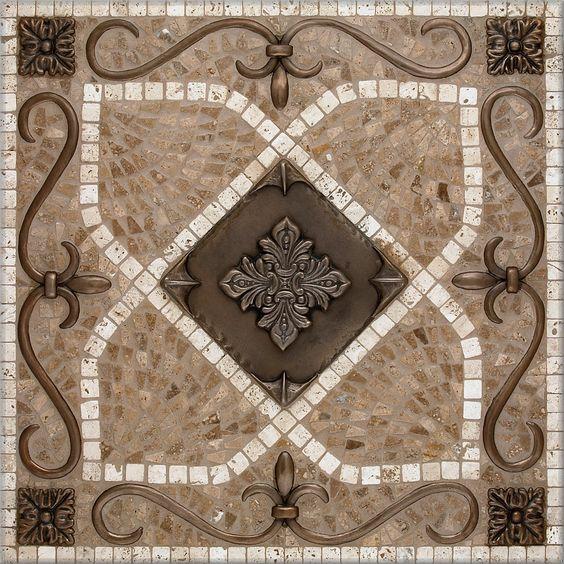 Mosaic Pebble Images Renaissance Mosaic Medallion Wood