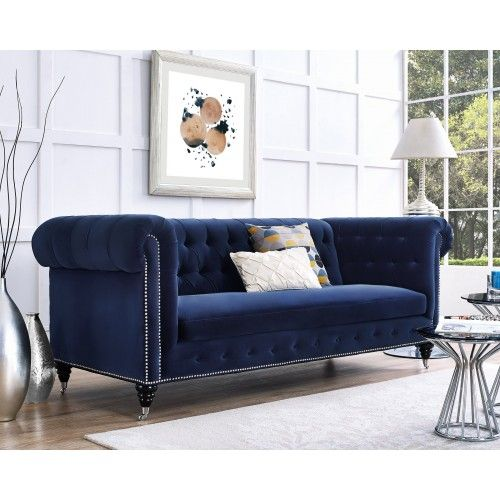 Dark Blue Velvet Silver Nailhead Chesterfield Tufted Sofa Navy