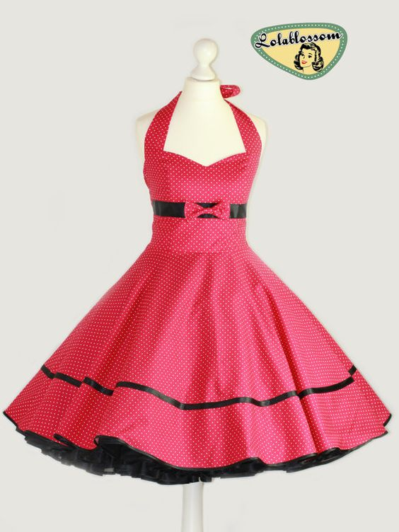 50&-39-s vintage dress full skirt hot pink black Polka Dots Wedding ...